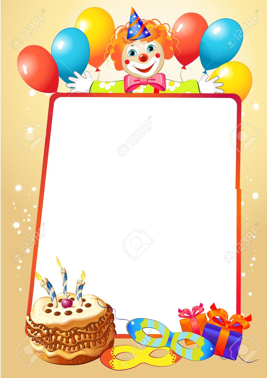 on the border birthday ; birthday-decorative-border-with-balloons-and-clown-royalty-free