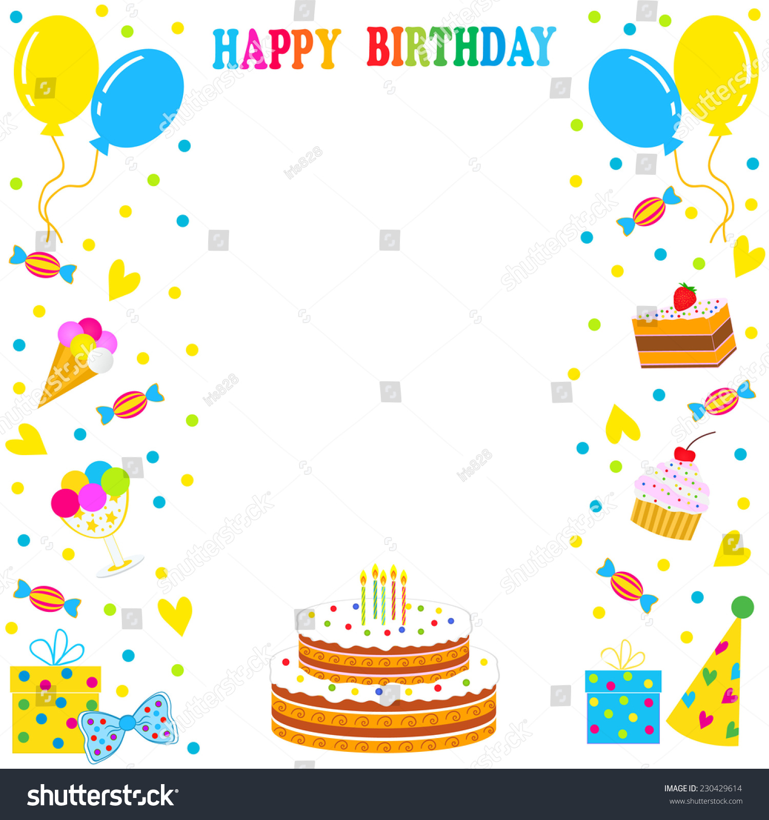 on the border birthday ; stock-vector--birthday-frame-border-sweets-balloons-cake-on-a-white-background-vector-230429614