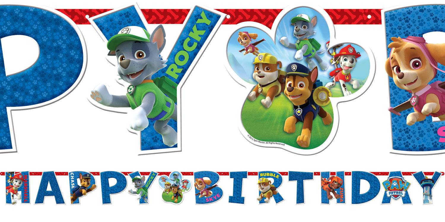 paw patrol birthday banner with photo ; 24629