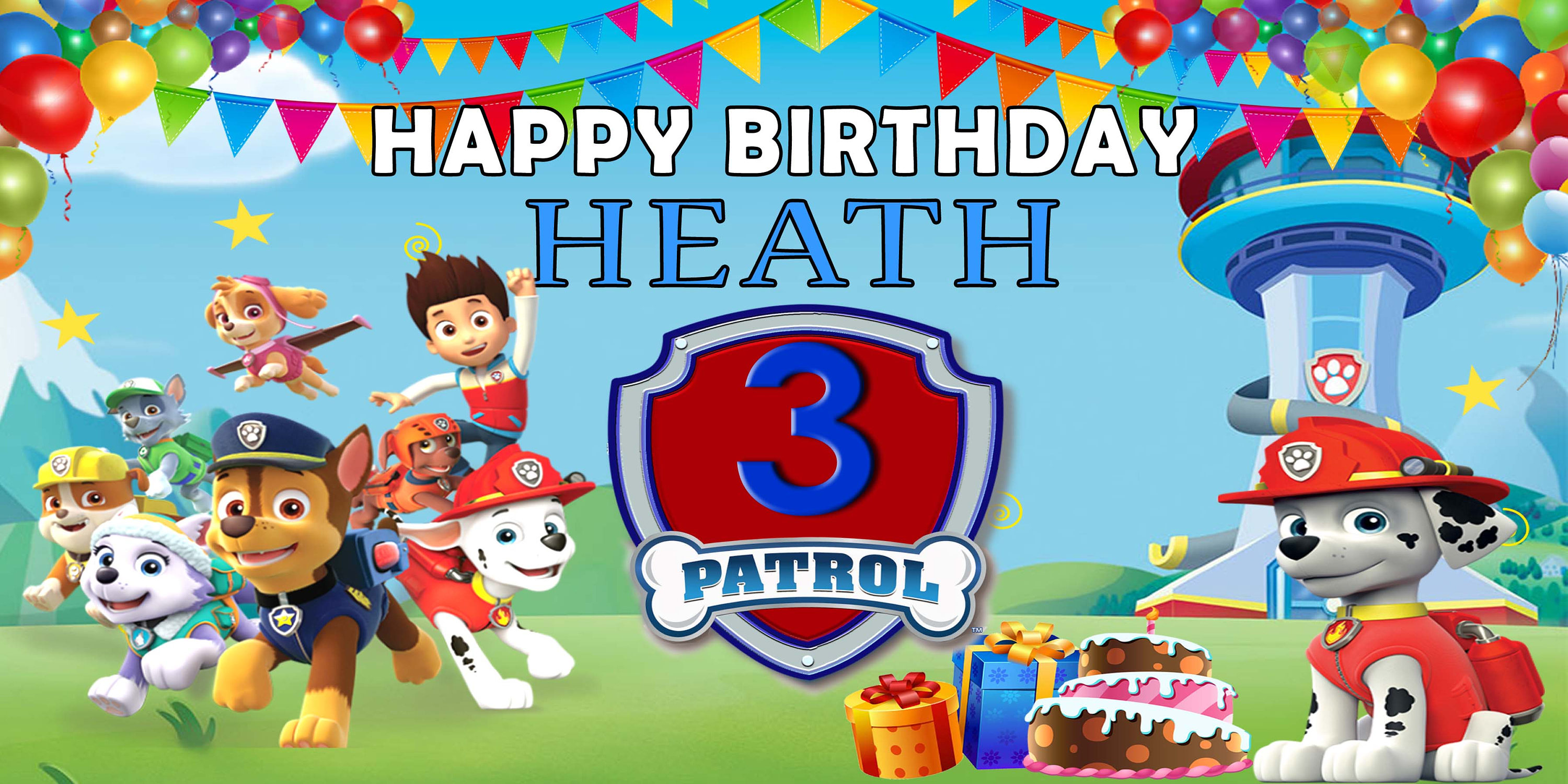 paw patrol birthday banner with photo ; il_fullxfull