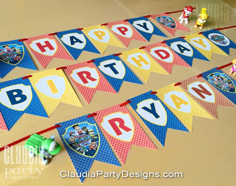 paw patrol birthday banner with photo ; paw-patrol-party-banner-800x630