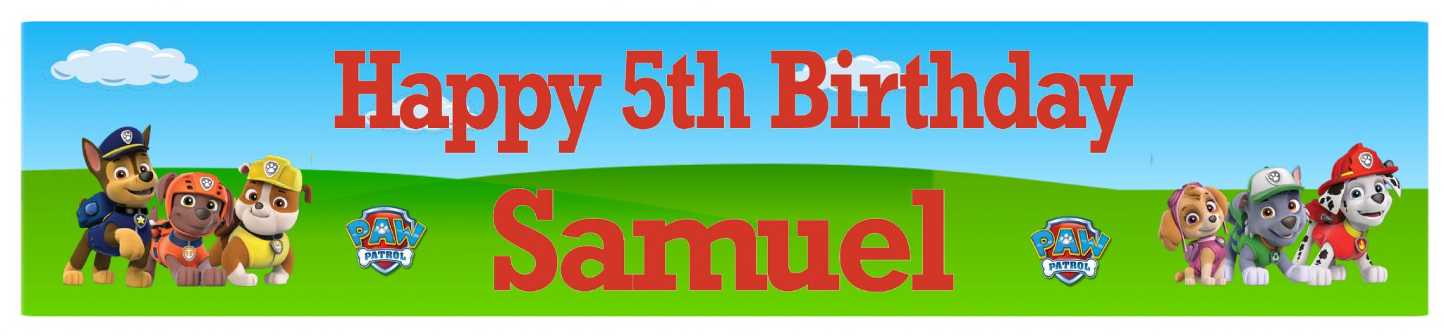 paw patrol birthday banner with photo ; personalised-paw-patrol-banner-3163-p