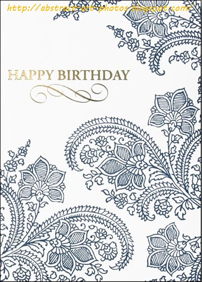 pencil drawing birthday cards ; blue-abstract-wonderful-design-on-a-white-card-with-gold-happy-birthday-written