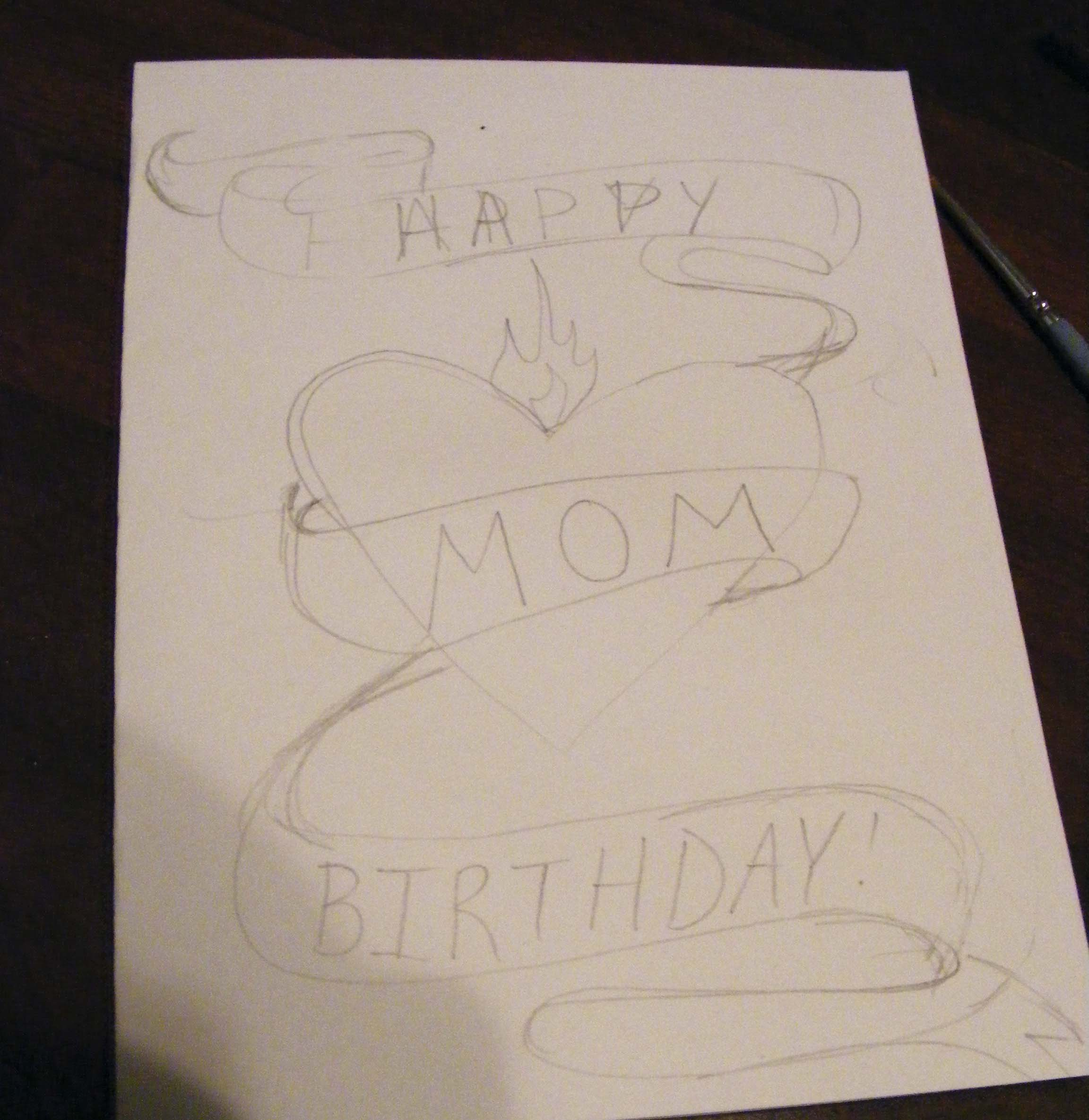 pencil drawing birthday cards ; pencil