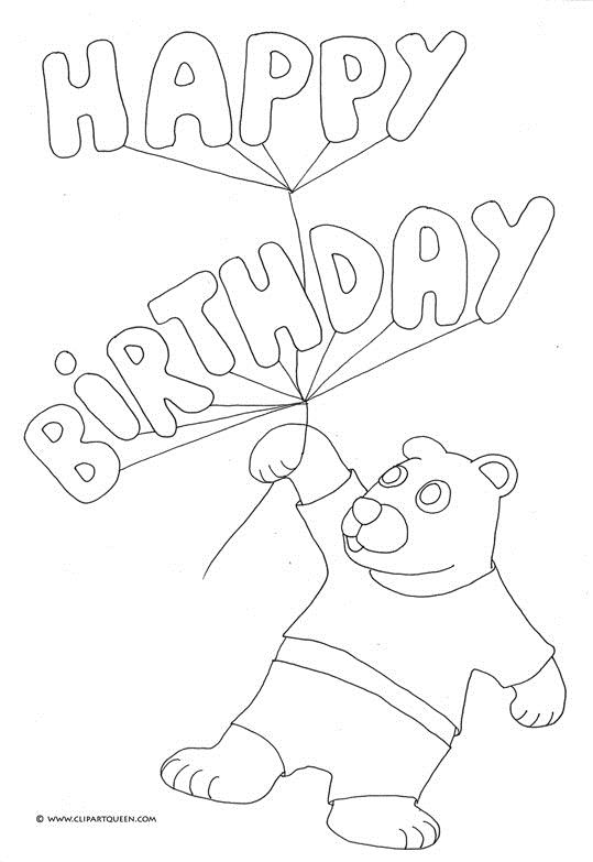 pencil drawings for birthday ; birthday-coloring-pages-teddy-bear-happy-birthday