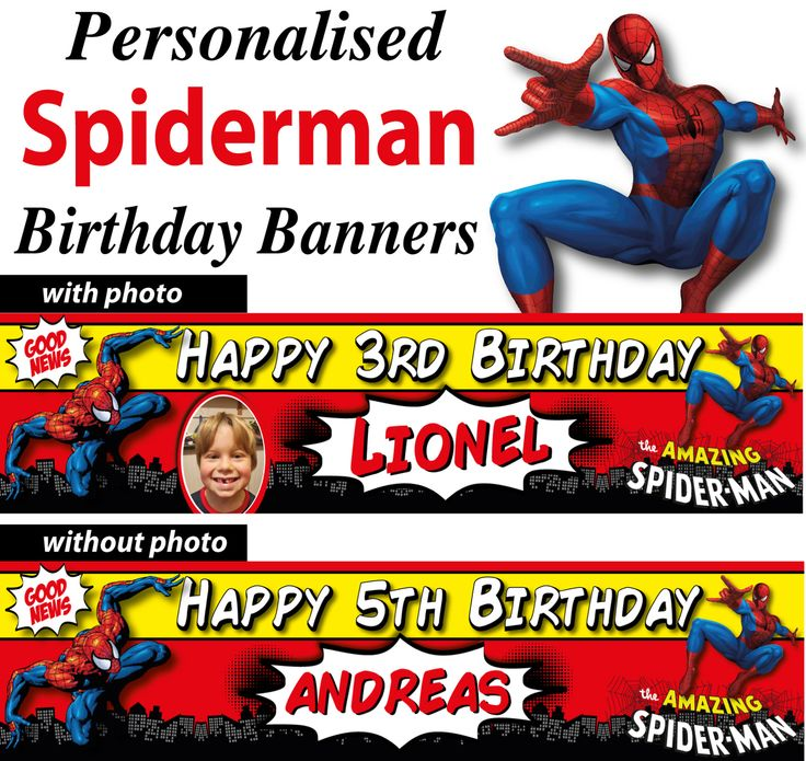 personalised birthday banners with photos ; 7c74368e7db4e46108eb646542150b87--party-banner-spiderman