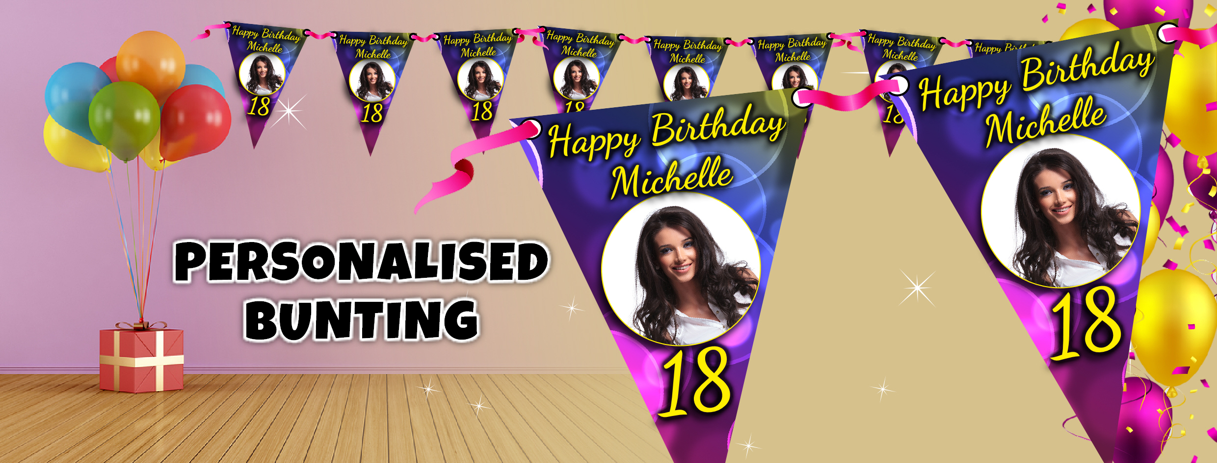 personalised birthday banners with photos ; banner-bunting-banners