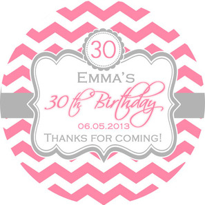personalised birthday labels ; 297x297