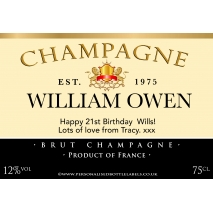 personalised birthday labels ; champagne_authentic