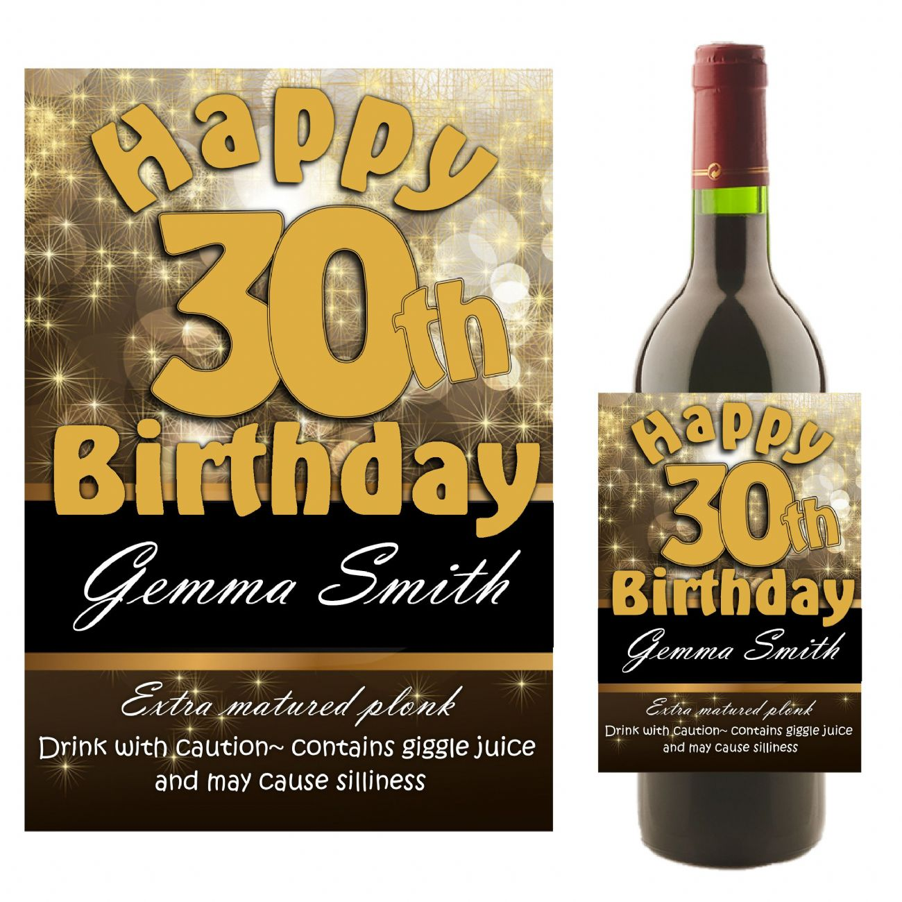 personalised birthday labels ; personalised-black-gold-happy-birthday-wine-champagne-bottle-label-n10-any-age-10824-p
