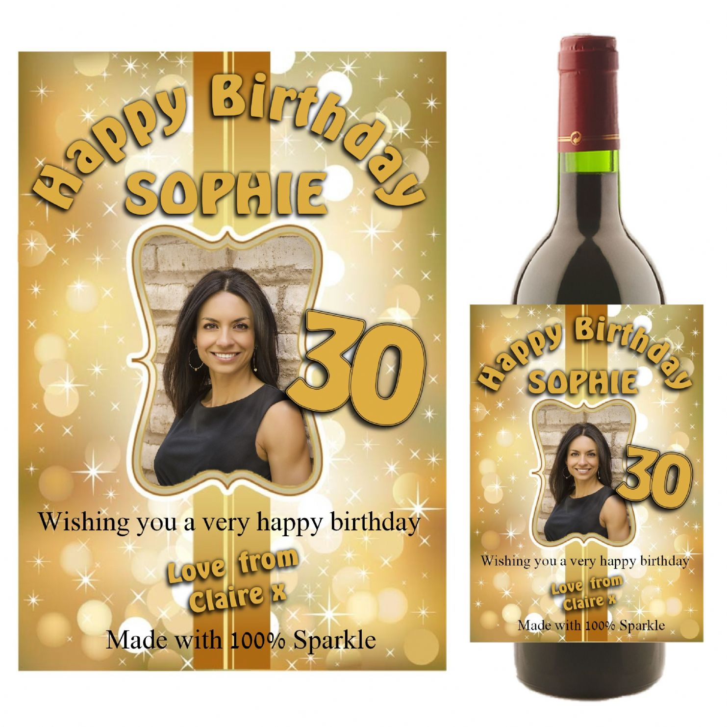 personalised birthday labels ; personalised-gold-sparkle-happy-birthday-wine-champagne-bottle-photo-label-n20-11267-p
