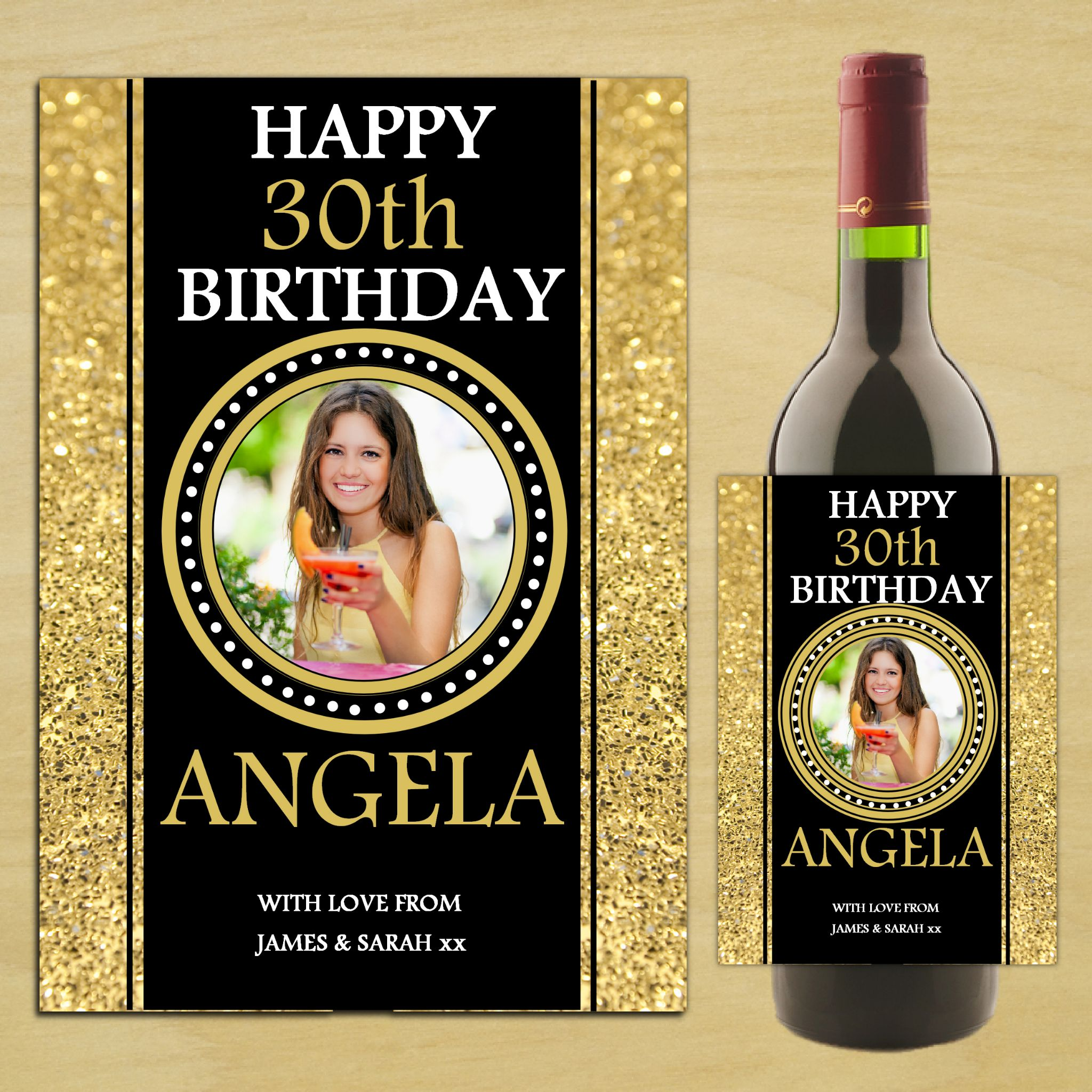 personalised birthday labels ; personalised-happy-18th-21st-30th-40th-birthday-wine-champagne-bottle-photo-label-n84-any-age-14501-p