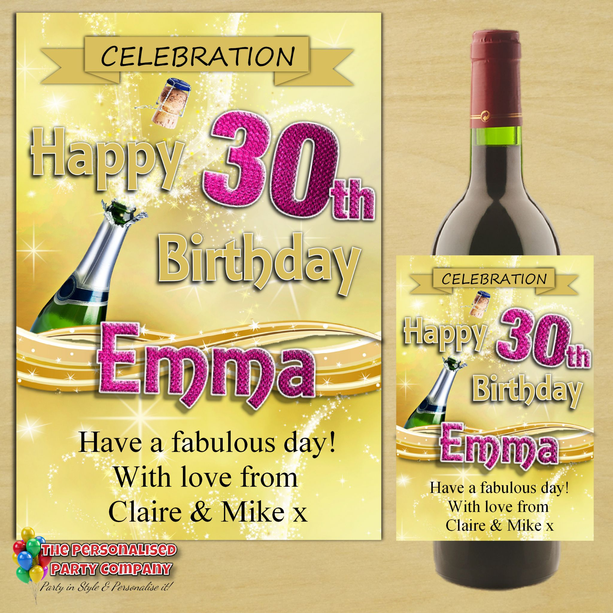 personalised birthday labels ; personalised-happy-birthday-wine-champagne-bottle-label-n71-gold-champagne-burst-bottle-label-size-champagne-bottle-13cm-w-x-9cm-h-14137-p