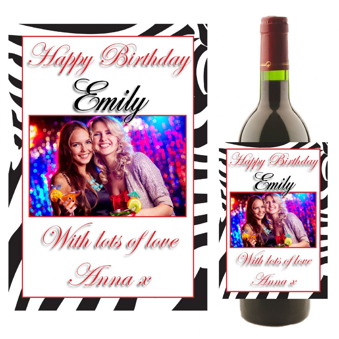 personalised birthday labels ; personalised-happy-birthday-wine-champagne-bottle-photo-label-n5-10799-p