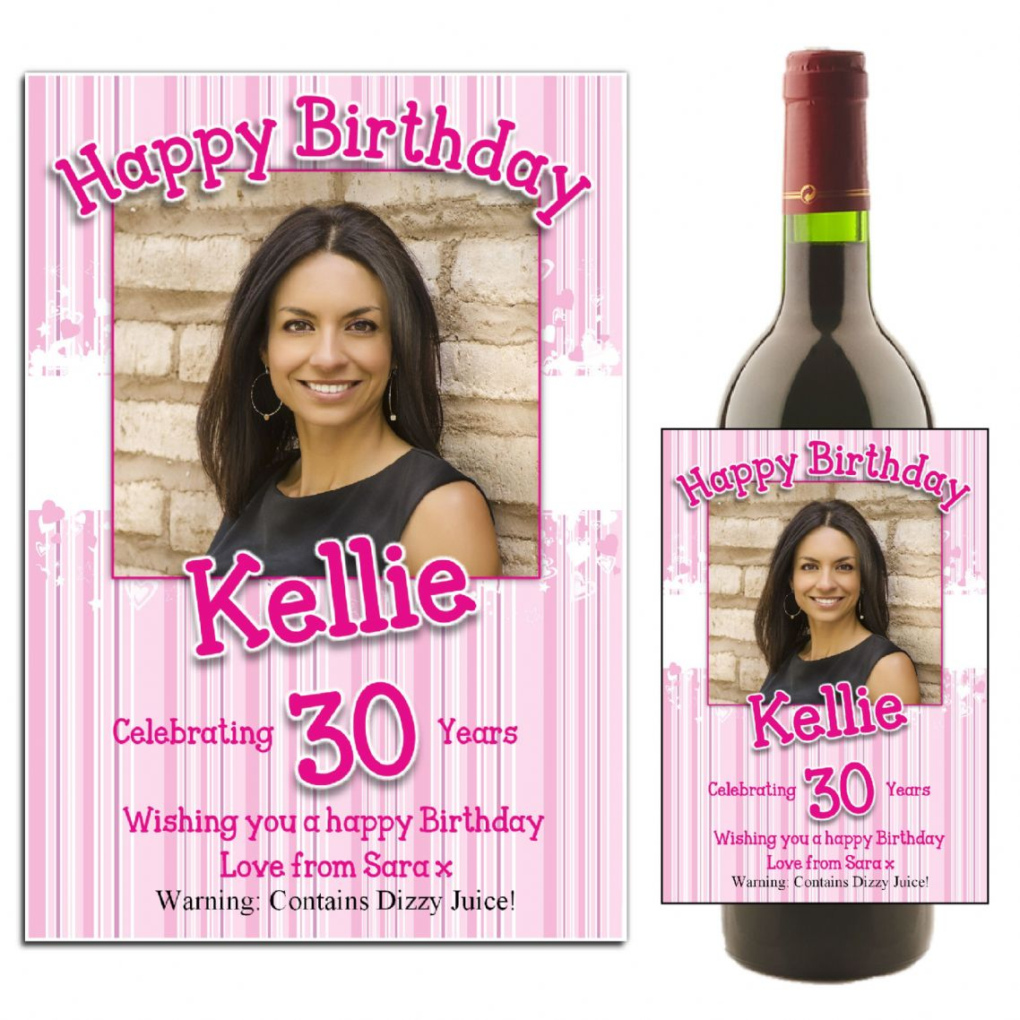 personalised birthday labels ; personalised-pink-hearts-happy-birthday-wine-champagne-bottle-photo-label-n33-12048-p