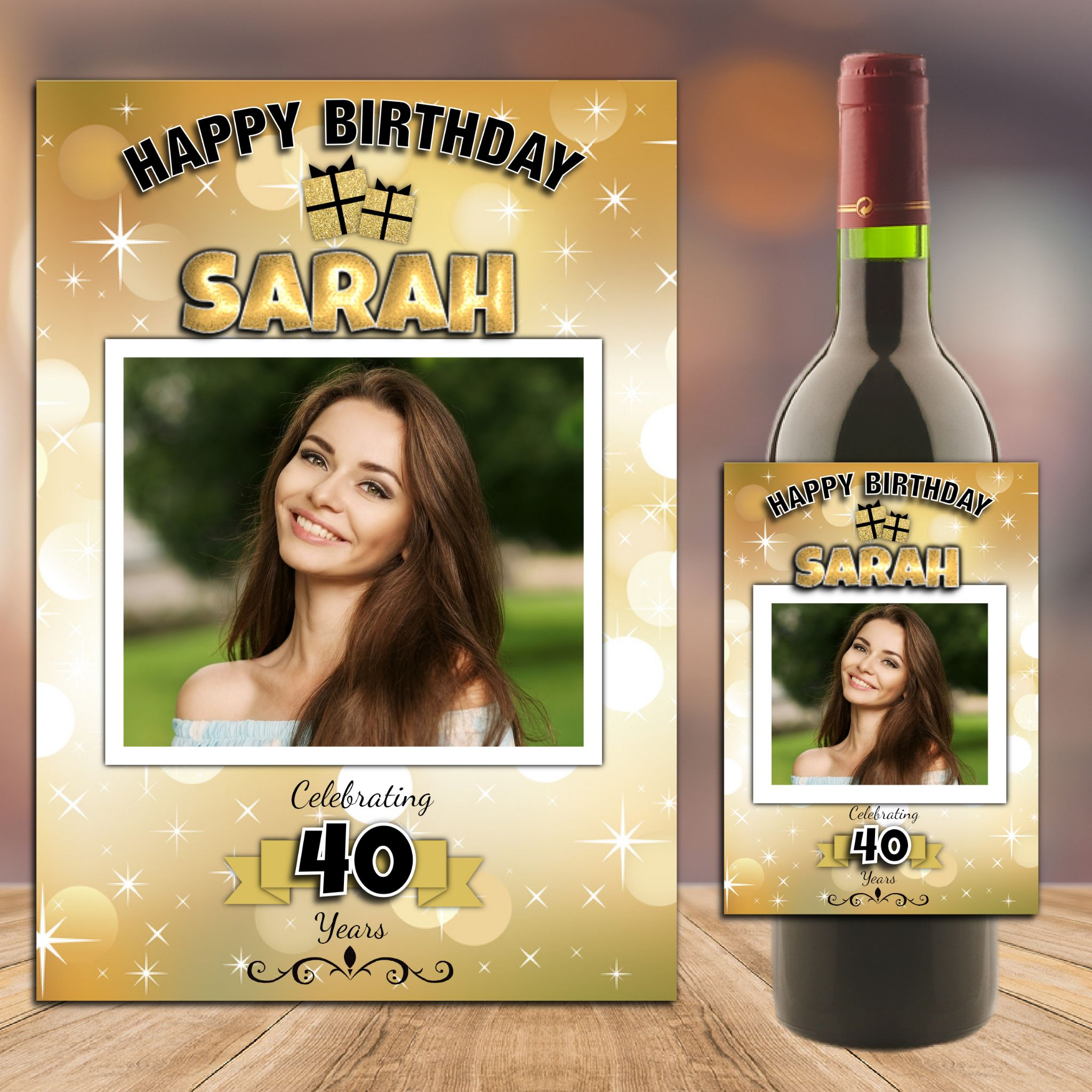 personalised bottle labels birthdays ; personalised-gold-sparkle-happy-18th-21st-30th-40th-50th-birthday-wine-champagne-bottle-photo-label-n88-any-age--14743-p