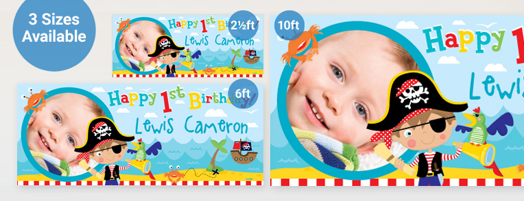 personalised photo birthday banners ; First-Birthday-Personalised-Banner-Link_v2