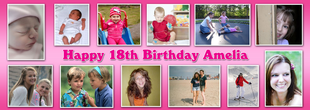 personalised photo birthday banners ; TIYL19-12-photo-banner-pink