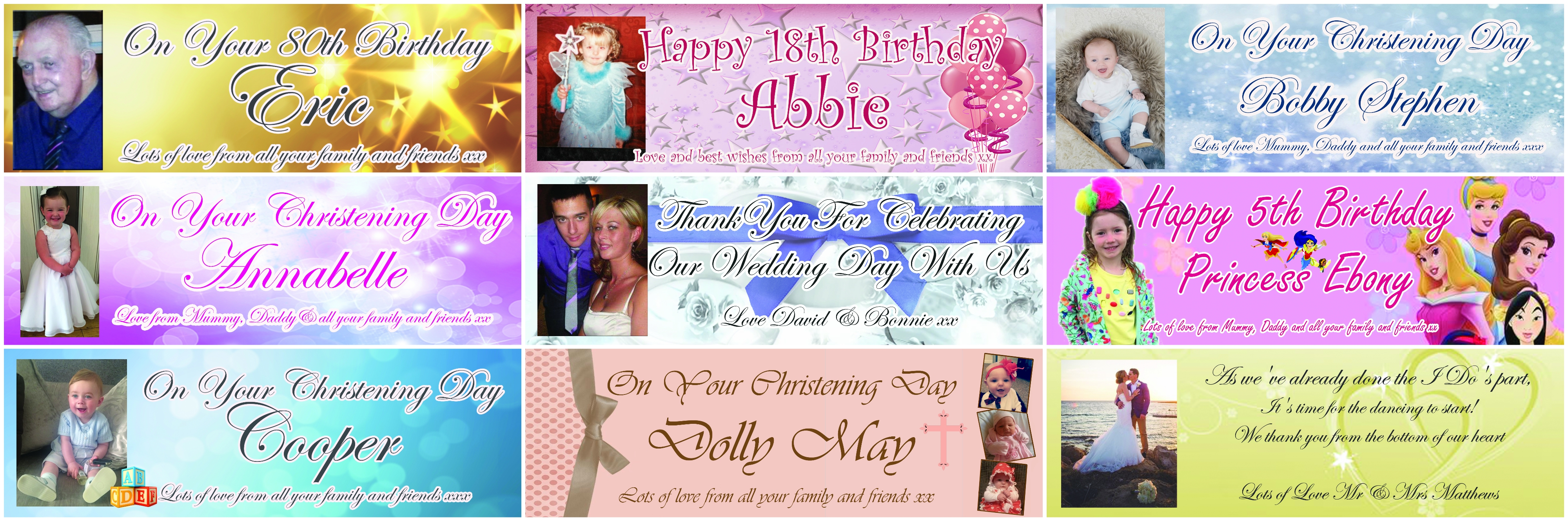personalised photo birthday banners ; banner-collage-1