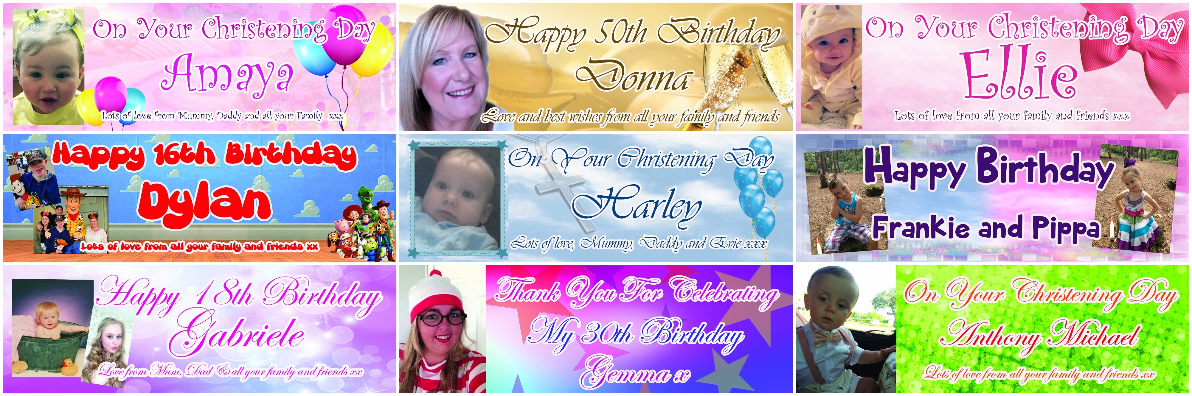 personalised photo birthday banners ; banner-collage-2