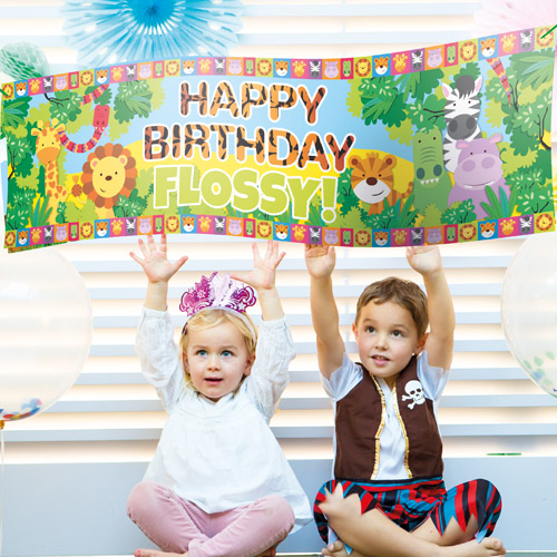 personalised photo birthday banners ; childrens-personalised-banners