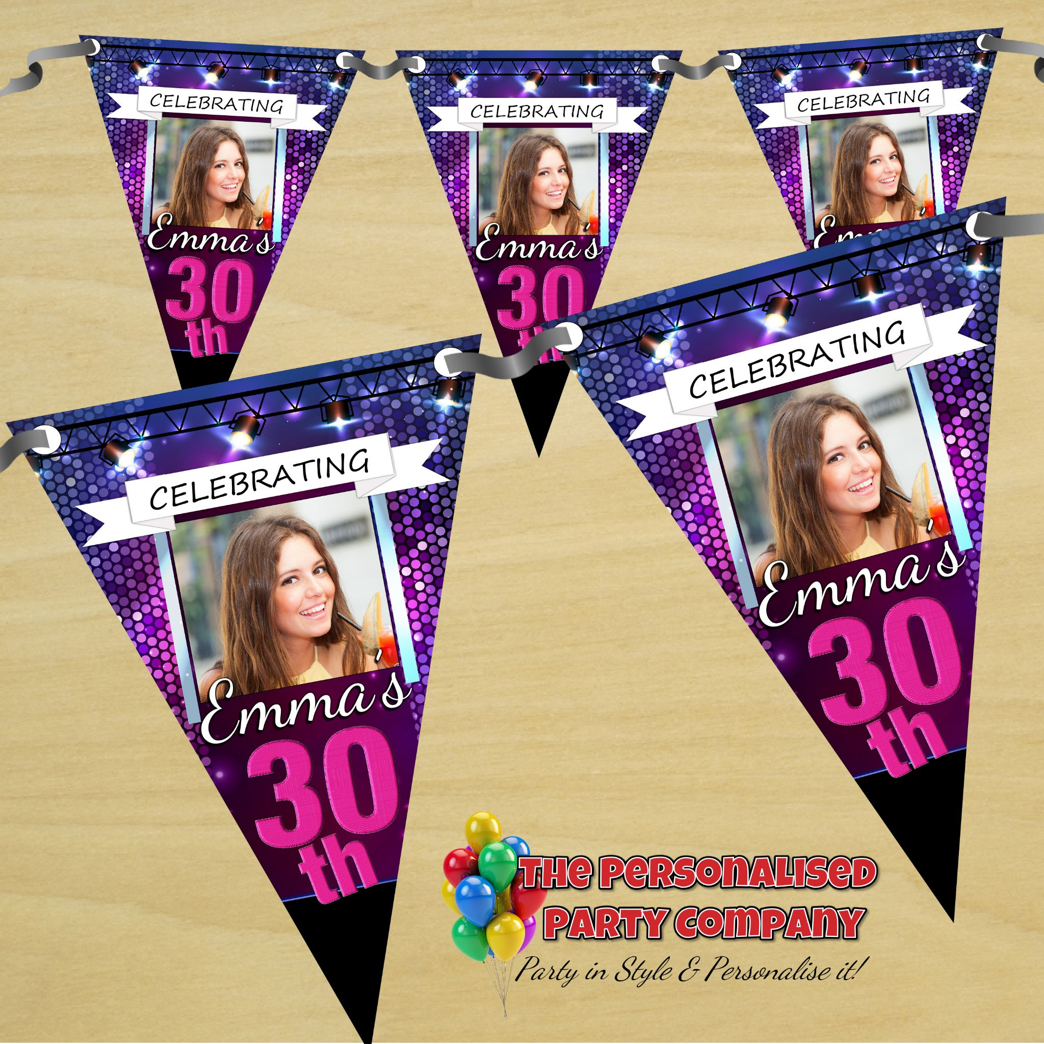 personalised photo birthday banners ; personalised-happy-birthday-flag-photo-bunting-banner-n49-disco-bokeh-number-of-flags-30-flags-print-option-one-sided-14292-p