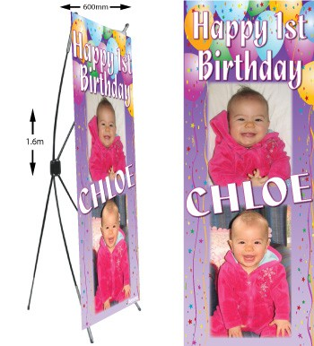 personalised photo birthday banners ; x-frame-banner-with-stand-children350