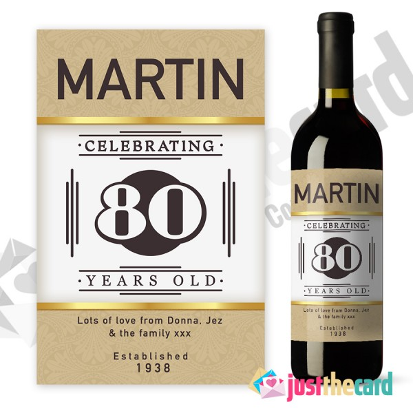 personalised wine labels for birthday ; 80thwl01-600x600