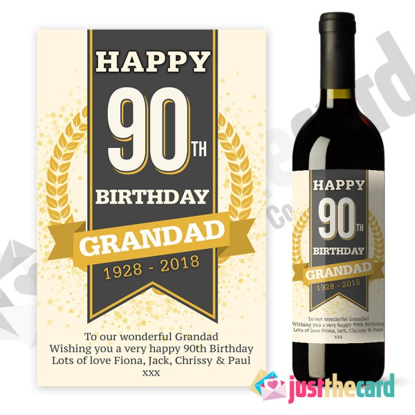 personalised wine labels for birthday ; 90thwl01-600x600