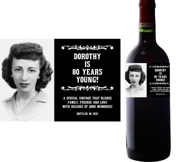 personalised wine labels for birthday ; label-wine-bday80