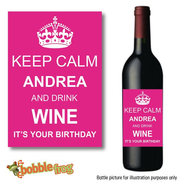 personalised wine labels for birthday ; personalised-keep-calm-wine-bottle-label-004-398-p