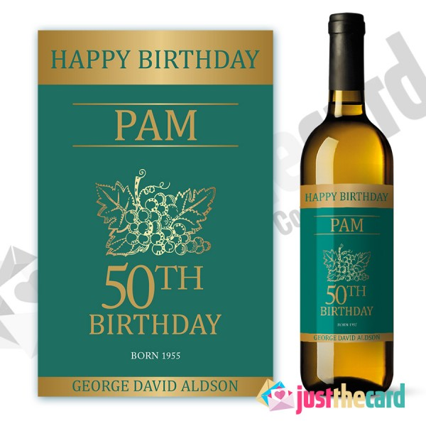 personalised wine labels for birthday ; wl38-600x600