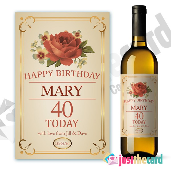 personalised wine labels for birthday ; wl40-600x600