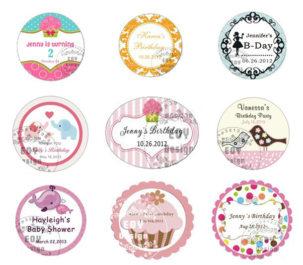 personalized birthday gift labels ; 50PCS-LOT-5CM-Diameter-Customize-Birthday-Gift-labels-Custom-Stickers-Wrappers-Seal-Label-Baby-Shower-Favor