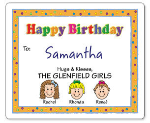 personalized birthday gift labels ; caricature-birthday-gift-labels_1