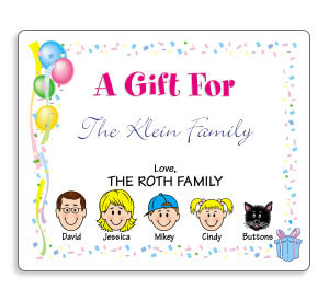 personalized birthday gift labels ; caricature-gift-labels