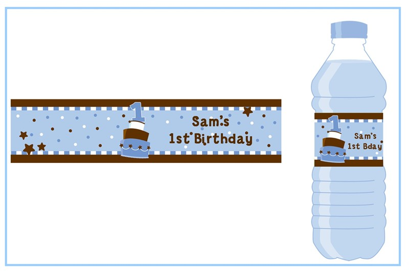 personalized birthday labels ; 1st_birthday_topsy_turvy_blue_cake_water_bottle_labels