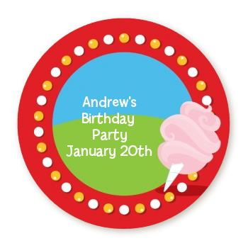 personalized birthday party labels ; circus_cotton_candy_round_sticker
