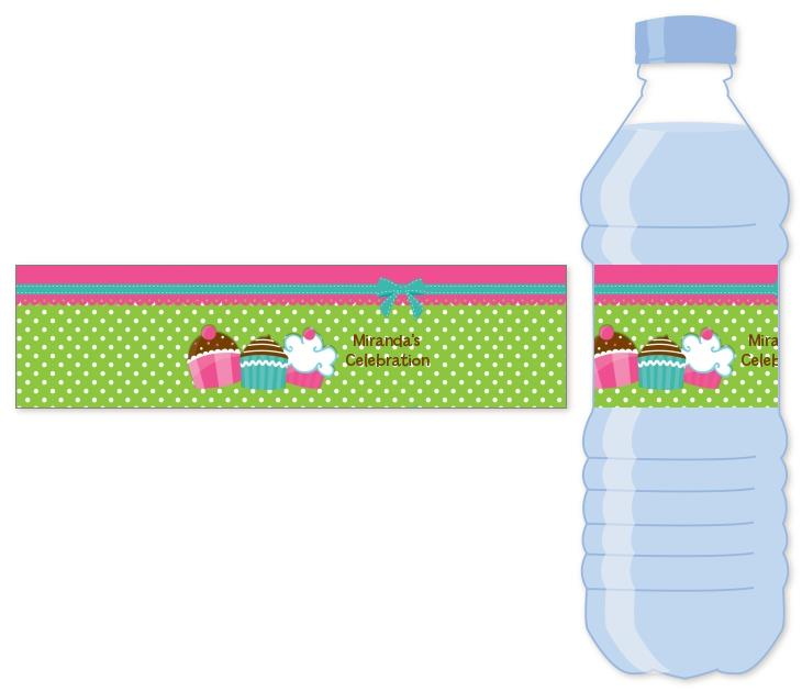 personalized birthday party labels ; cupcake_trio_water_bottle_label