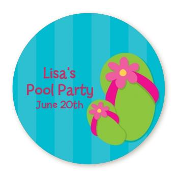 personalized birthday party labels ; flip_flops_girl_pool_party_round_sticker_label