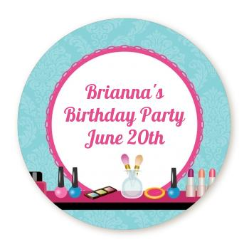 personalized birthday party labels ; glamour_girl_makeup_party_round_sticker