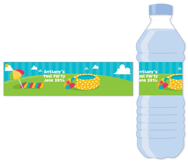personalized birthday party labels ; pool_party_water_bottle_label