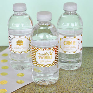personalized bottle labels birthday ; personalized-metallic-foil-birthday-water-bottle-labels