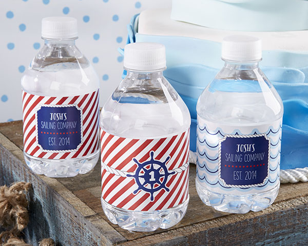 personalized labels for birthday favors ; 31303NA_NauticalBirthdayWaterLabels_L