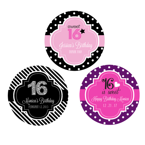 personalized labels for birthday favors ; Personalized-Sweet-16-%2528or-15%2529-Round-Favor-Labels-details