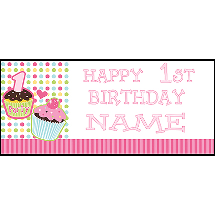 personalized photo banner 1st birthday ; 1st-Cupcake-Pink