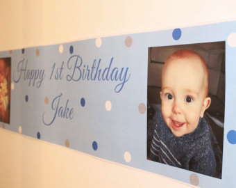 personalized photo banner 1st birthday ; il_340x270