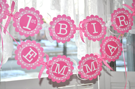 personalized photo banner 1st birthday ; il_570xN