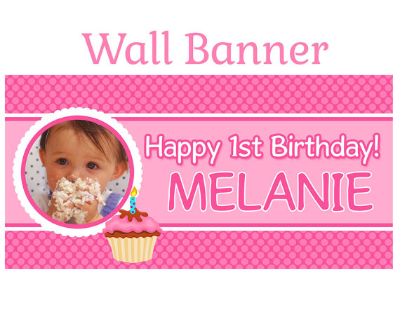 personalized photo banner 1st birthday ; items-similar-to-happy-1st-birthday-banner-personalize-happy-happy-1st-birthday-banner-personalized