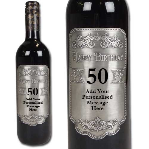 personalized wine bottle labels for birthday ; 50th-birthday-personalised-wine-with-engraved-pewter-wine-label-personalised-wine-bottle-labels